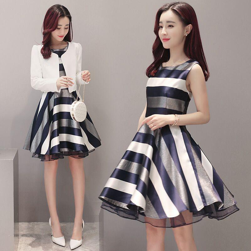 春季韩版新款名媛连衣裙女 时尚条纹裙子套装